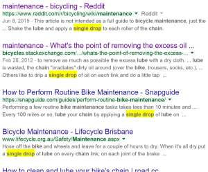 "See: I didn't make it up. All these bike maintenance articles recommend ""a single drop"" of chain lube."